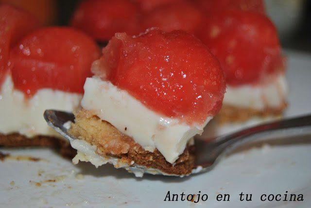 Tarta de panna cotta y sandía