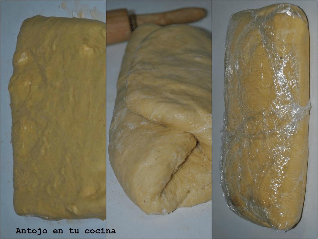 Doblamos por la mitad para que la mantequilla se nos quede dentro y doblamos la masa en tres pliegues