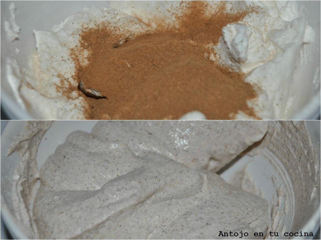 dispondremos el ricotta en un bol junto con la canela y la nuez moscada y mezclamos muy bien.