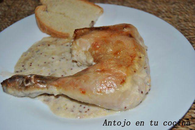 pollo asado con nata y mostaza