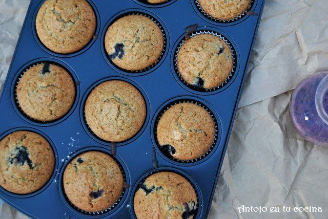 Muffins de arándanos y té earl grey