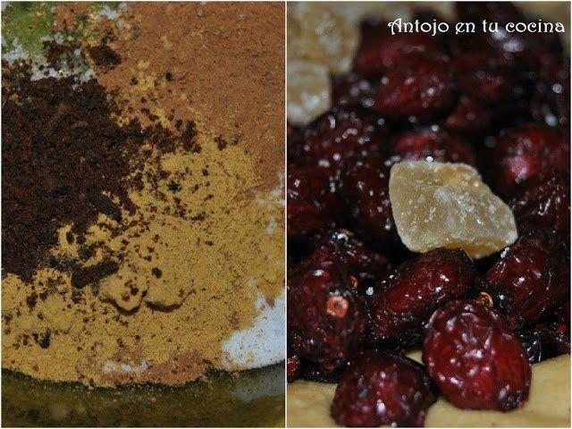 mezcla de especias, arándanos desecados y jengibre confitado