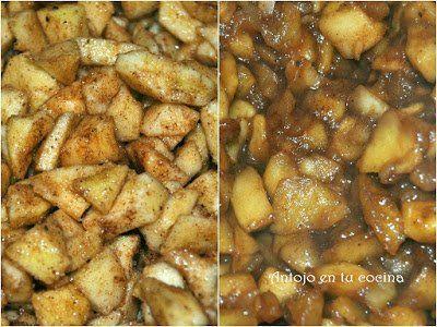 Calentamos una sartén a fuego medio junto con las 2 cucharaditas de mantequilla, agregamos los tacos de manzana, el azúcar moreno y la canela