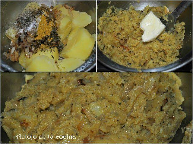 cocemos las patatas y las mezclamos con la cebolla pochada y las especias. Lo chafamos bien hasta que quede una masa homogénea.
