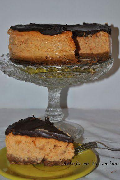 Cheesecake de calabaza con cobertura de chocolate