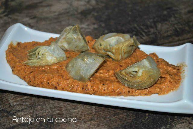 Alcachofas con salsa de almendras