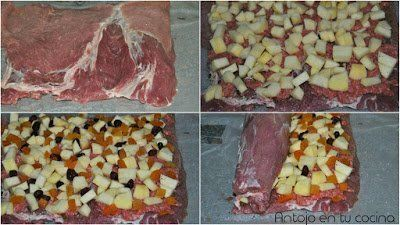 cubrimos la carne con carne picada, la manzana, los orejones y los arándanos