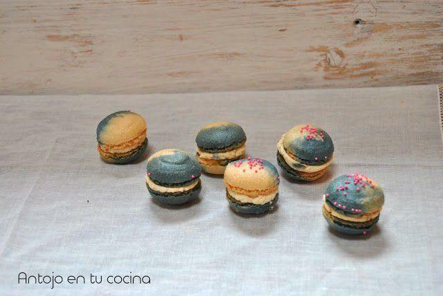 Macarons bicolor de mantequilla de cacahuete