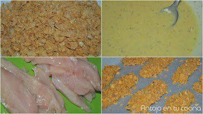 Rebozar pollo con corn flakes sin huevo