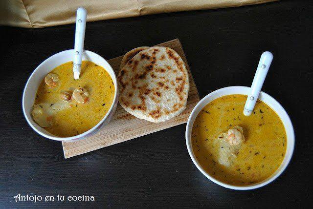 Sopa tailandesa de pescado y coco