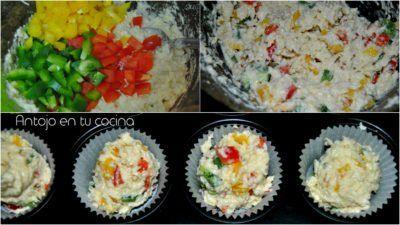 Corn bread muffins tres pimientos