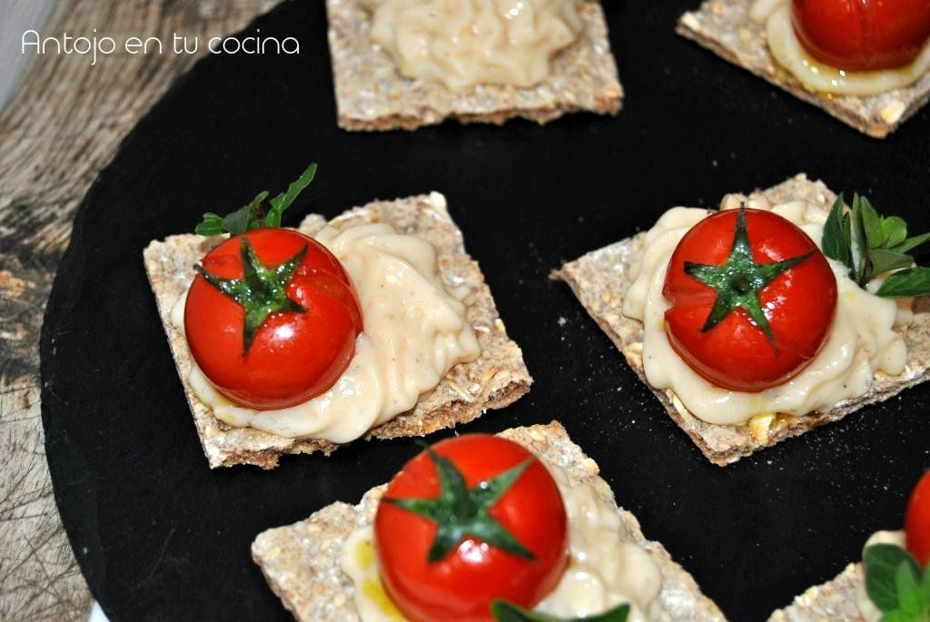 Goat cheese and roasted cherry tomato canape