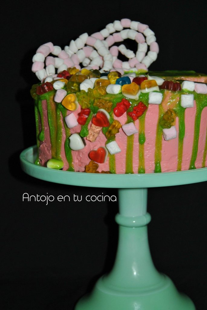 Milk and cookies piñata drip cake