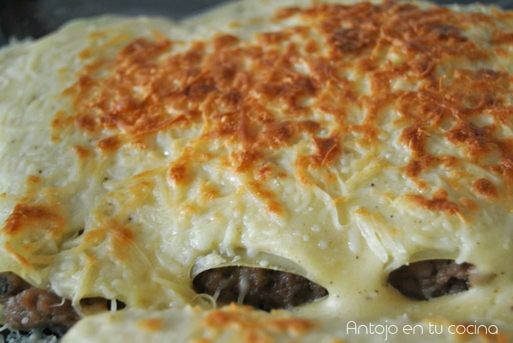 Traditional meat cannelloni with bechamel sauce