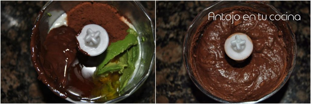 mousse de chocolate y aguacate