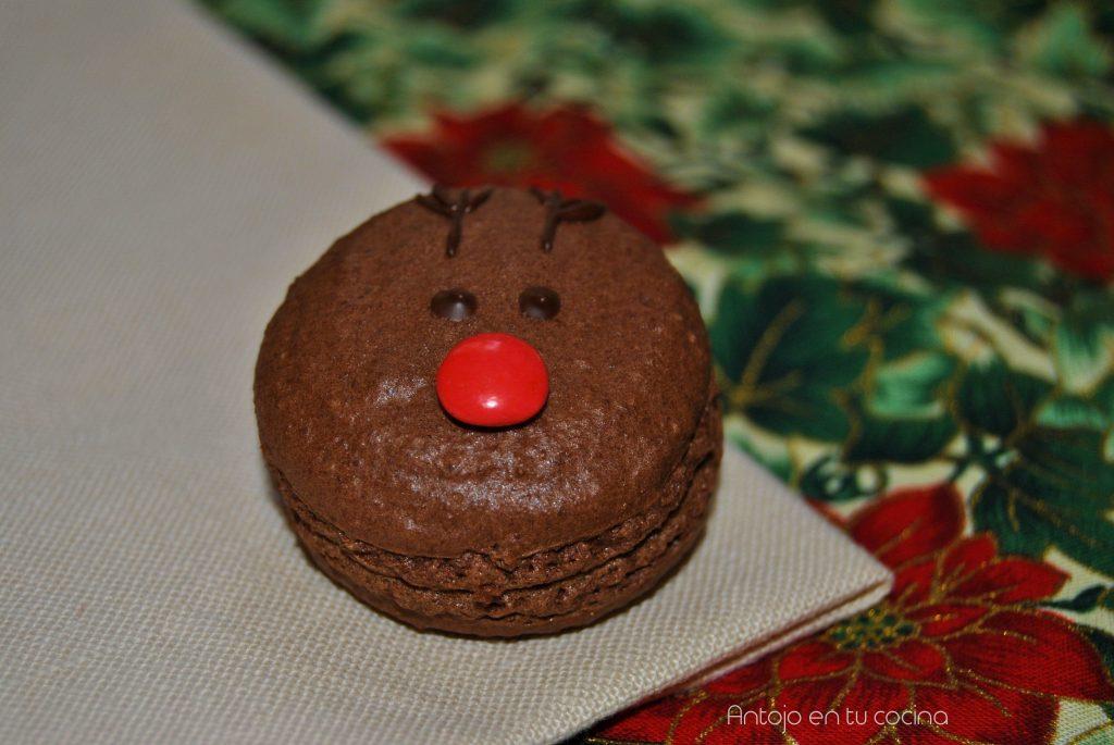 macarons de chocolate y coco para navidad