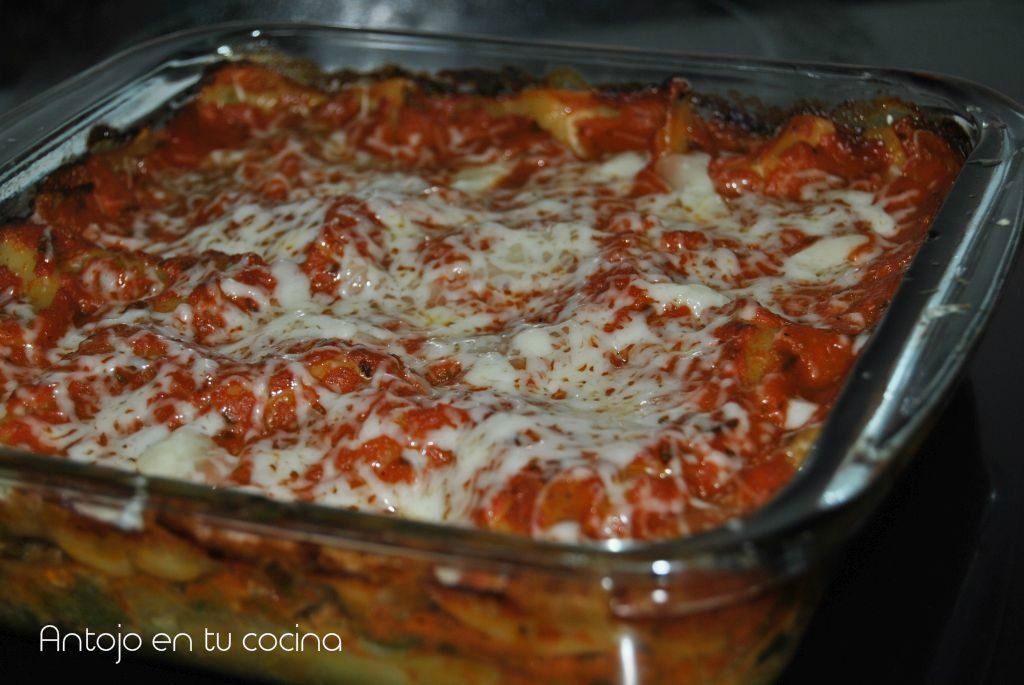 Lasaña de acelgas y/o espinacas con queso mascarpone
