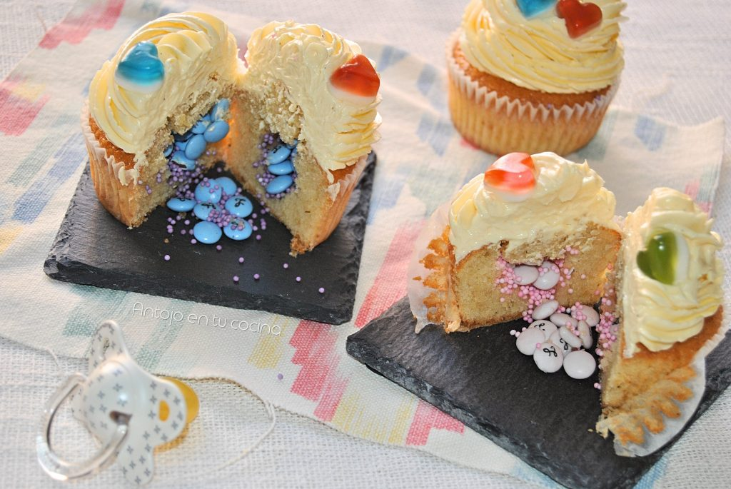 Cupcakes piñata para desvelar el sexo del bebé