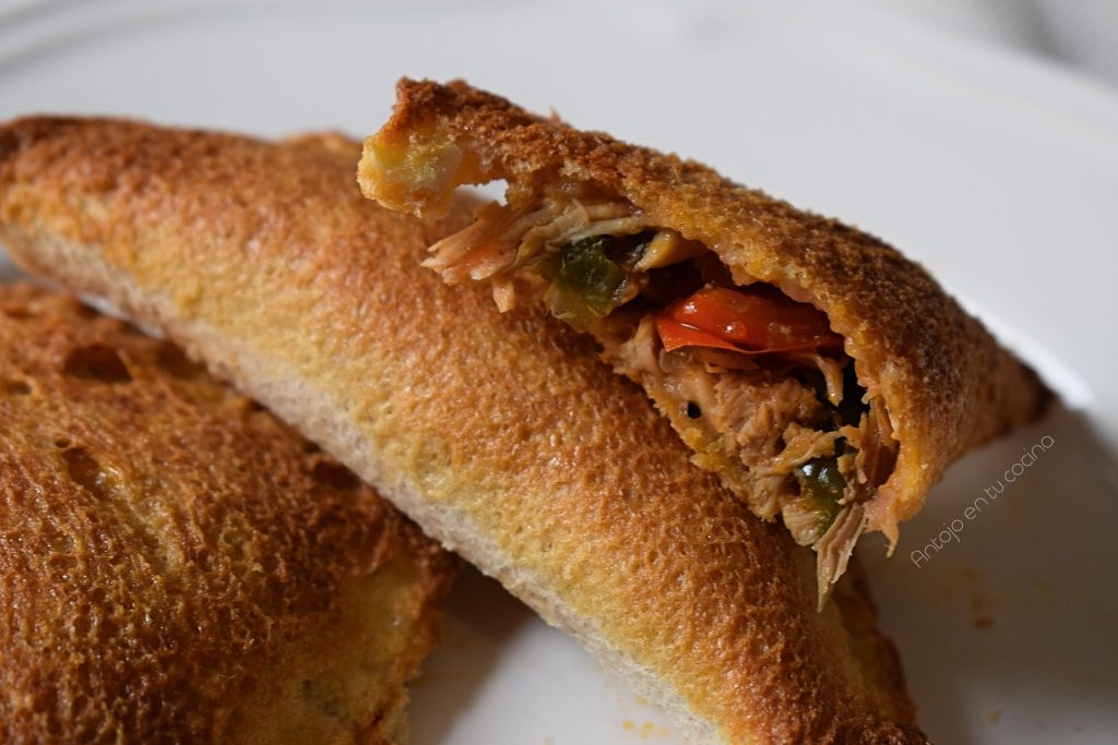 empanadilla de pollo con pan de molde