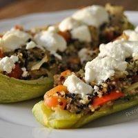 calabacin relleno quinoa y verduras