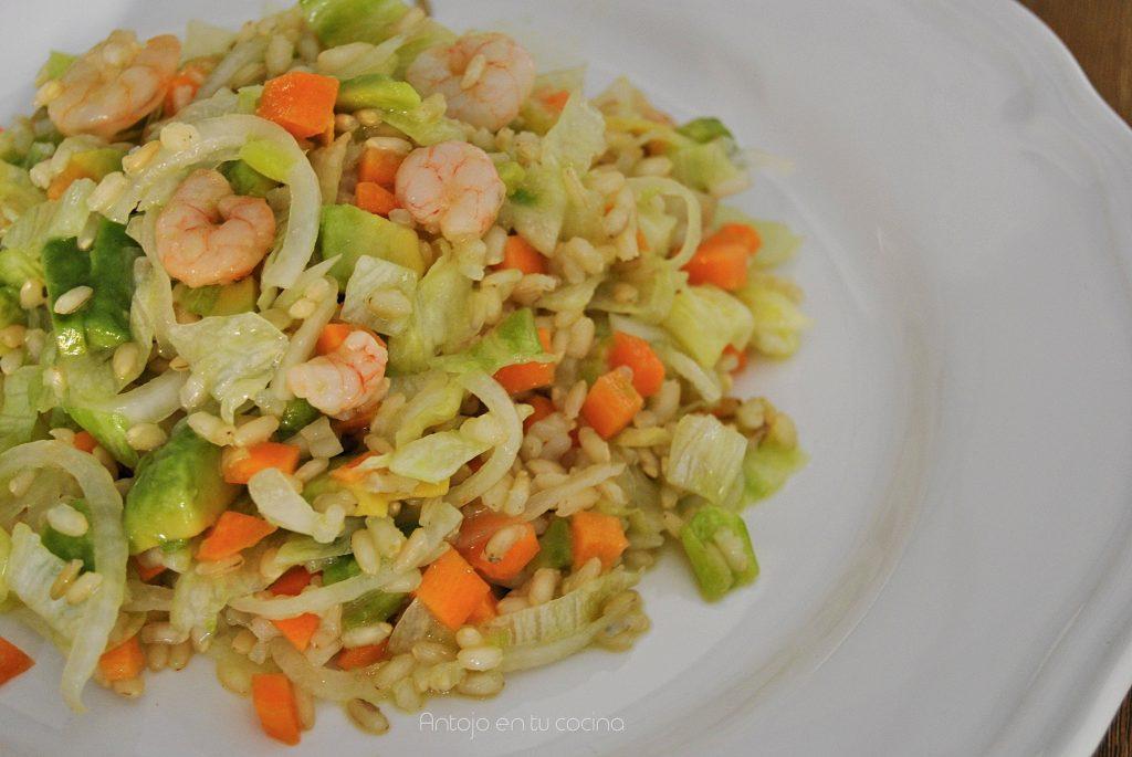 ensalada arroz integral gambas