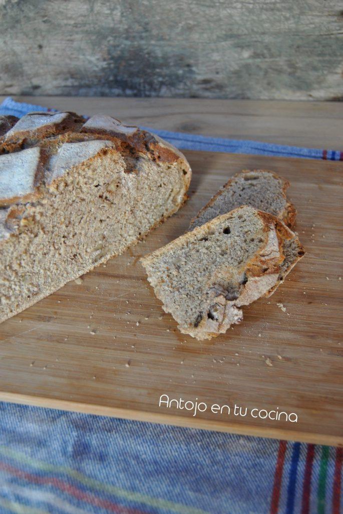 pan de espelta con nueces sin amasado