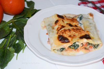 Canelones de espinaca y queso ricota
