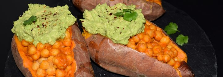 boniato relleno de garbanzo tandoori