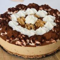 tarta fría de café y nueces