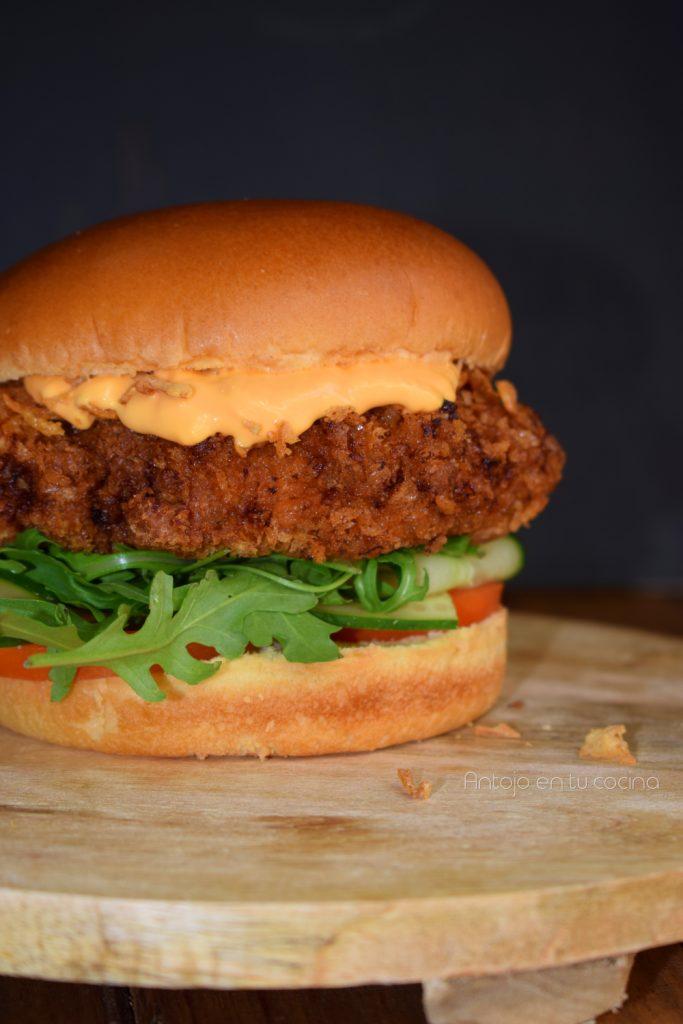 hamburguesa pollo frito