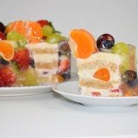 tarta de frutas encapsulada en gelatina