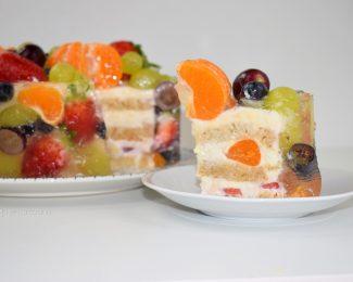 Tarta con gelatina de frutas 🍇🍓🥝 PASTEL ENCAPSULADO