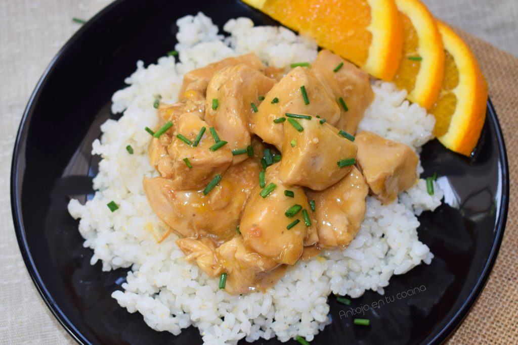 pollo ala naranja chino sano