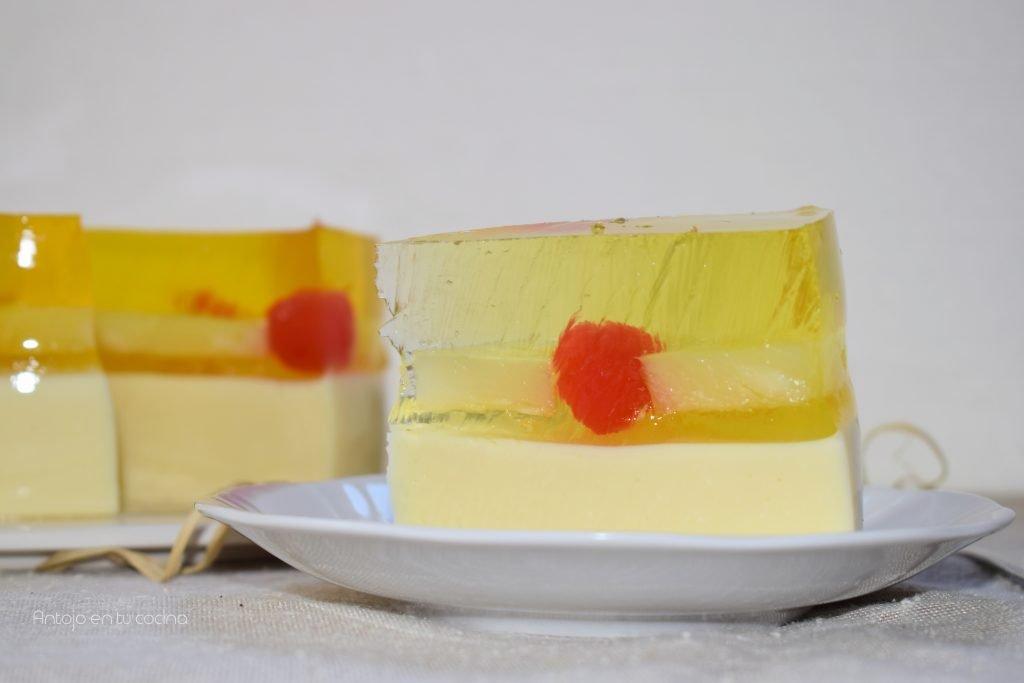 Tarta fría de piña sin horno ¡Volteado de gelatina super refrescante!