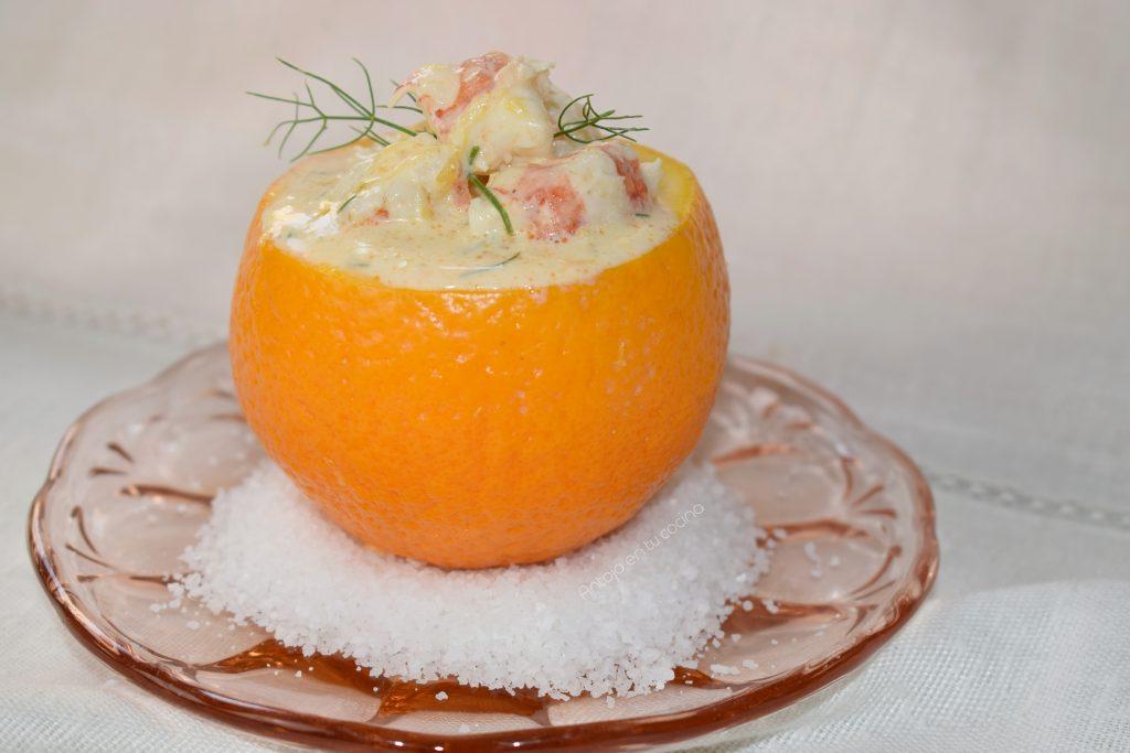 Ensalada de naranja - Naranjas rellenas de cóctel de gambas